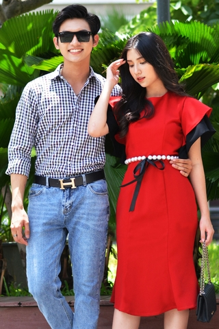 Couple Premium Color Cross Shirt & Pearl Belt Dress