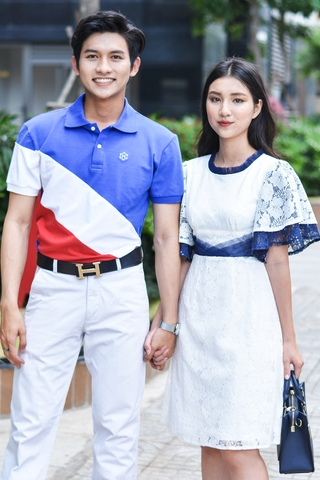 Couple Navy White Red Polo & Classy Pleated Lace Dress