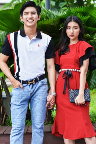 Couple Vertical line Polo & Pearl Belt Dress