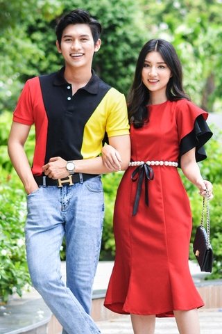 Couple Strong Shoulder Polo & Pearl Belt Dress