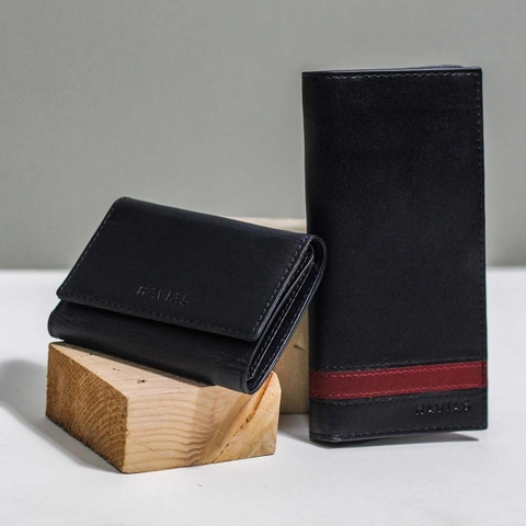 Couple Ví Heyday2 & Heart3 Handcrafted Wallet Black