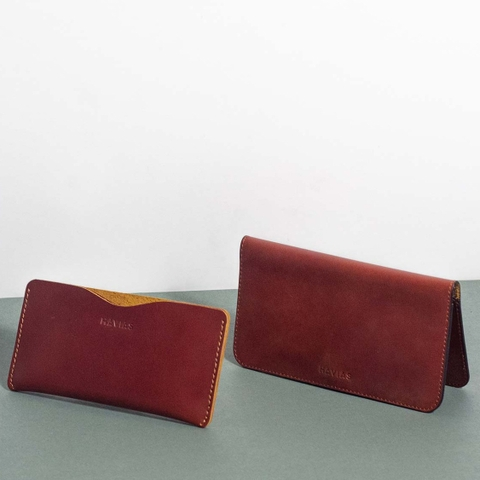 Bóp ví da thật nam nữ HAVIAS Couple Ví Opmo & Lemo Handcrafted Wallet Red Brown