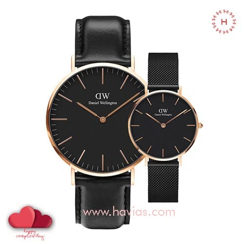 Daniel Wellington Classic Black Sheffield vs Petite Ashfield Couple 40mm/32mm