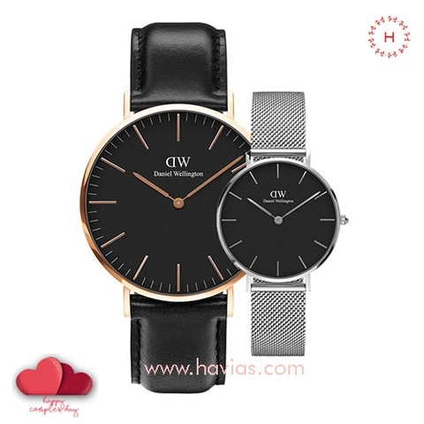 Daniel Wellington Classic Black Sheffield vs Petite Sterling Black Couple 40mm/32mm