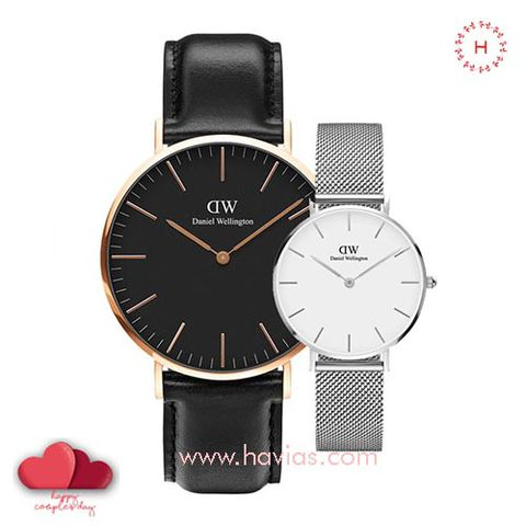 Daniel Wellington Classic Black Sheffield vs Petite Sterling White Couple 40mm/32mm
