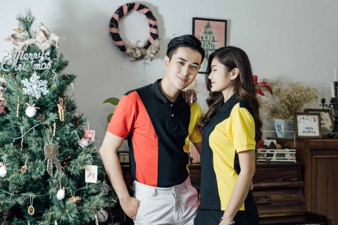 Couple Black Mix Red Yellow Strong Shoulder Premium Polo