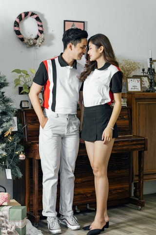 Couple Red White Black mix Vertical line Premium Polo