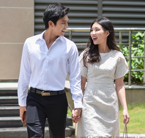 Couple Premium White Shirt & Apricot Blossom Dress