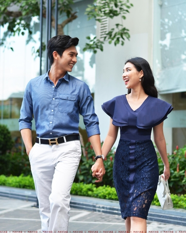 Couple Classy Pocket Shirt & Twinkle Navy Dress