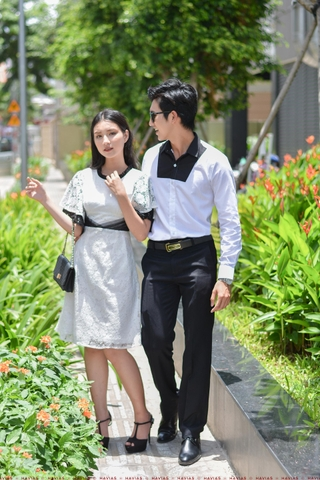 Couple Black Chest White Shirt & Classy Pleated Lace Dress