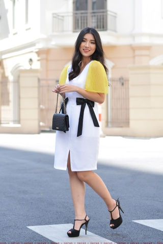 Yellow Mesh Sleeve Black Bow Rippled White Dress