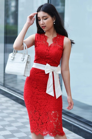 Gerbera Fabric White Bow Sleeveless Red Dress