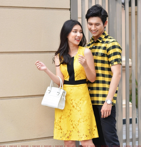 Couple 2 Pocket Shirt &  Flowering Sleeveless Dress