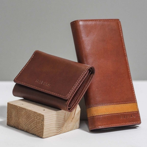 Couple Ví Heyday2 & Heart3 Handcrafted Wallet Brown