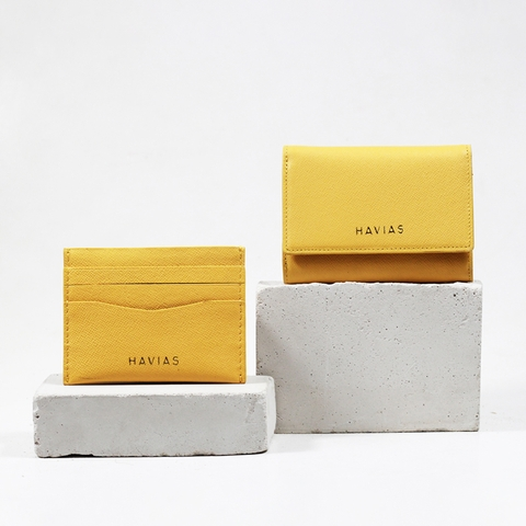 Couple Ví Heart3 Gold Mini Wallet & Mini HAVIAS Pie Yellow