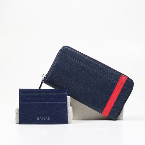 Couple Ví The Viva Zipped Long Wallet & Mini HAVIAS Pie2 Blue Navy