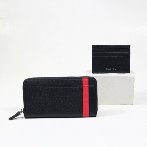 Couple Ví The Viva Zipped Long Wallet & Mini HAVIAS Pie2 Black