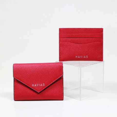 Couple Ví Heart2 Mini Wallet & Mini HAVIAS Pie Red