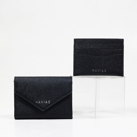 Couple Ví Heart2 Mini Wallet & Mini HAVIAS Pie Black