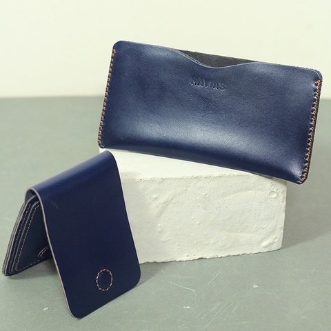 Couple Ví Opmo & Gerbera Handcrafted Wallet Blue Navy