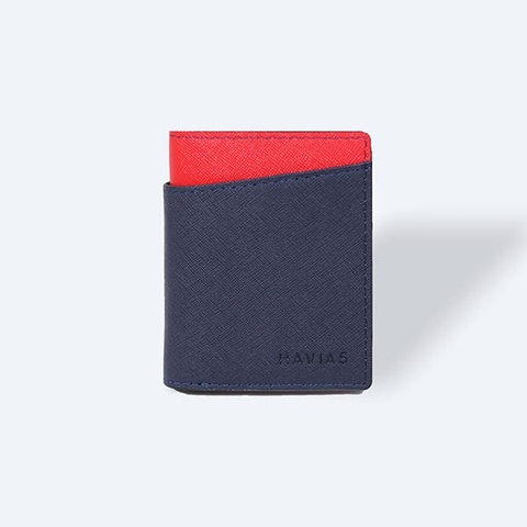 Couple Ví Seashell Grid Frame Navy & Rosy Luck Red Wallet