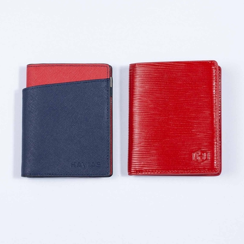Bóp ví da thật nam nữ HAVIAS Couple Ví Seashell Grid Frame Navy & Rosy Luck Red Wallet