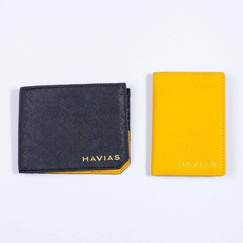 Couple Ví The Sun Bifold Black & Gapple Mini Yellow Wallet