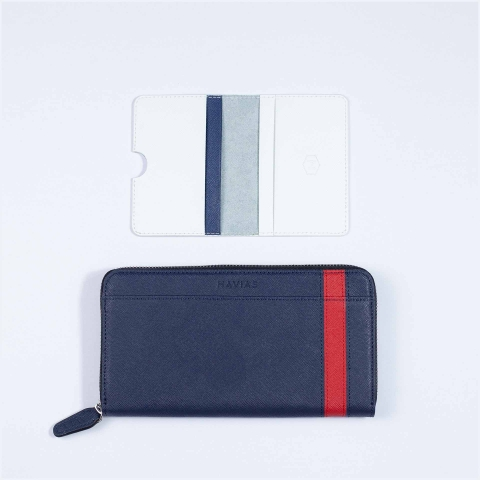 Couple Ví The Viva Zipped Long & Harp Mini Wallet Navy White
