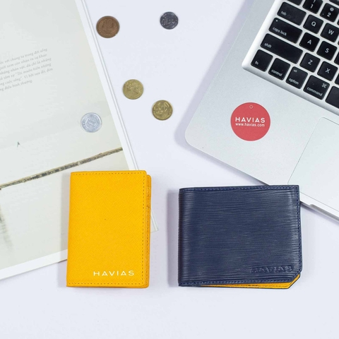 Couple Ví The Sun Bifold Navy & Gapple Mini Yellow Wallet
