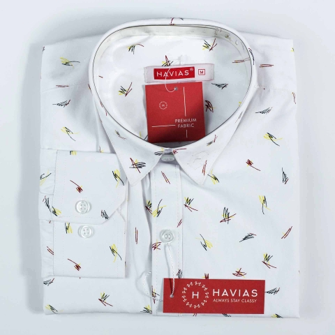 Premium White Shirt with Textured Scrawl Pattern