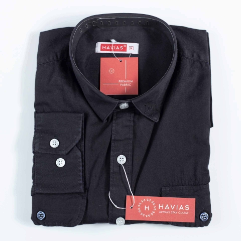 2 Pocket Black Button Down Narrow Point Shirt