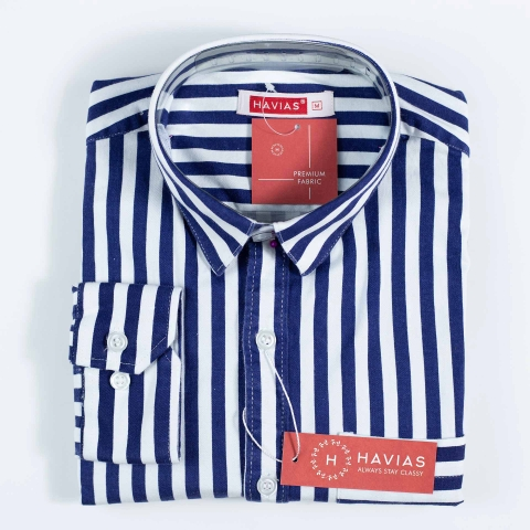 Navy Blue Striped Shirt with Flat Line Pocket