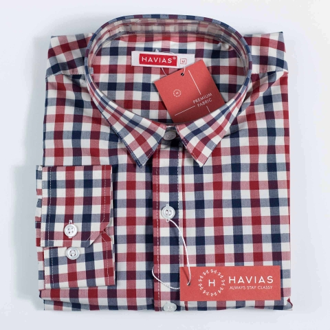 Red Navy Checked Classy Shirt