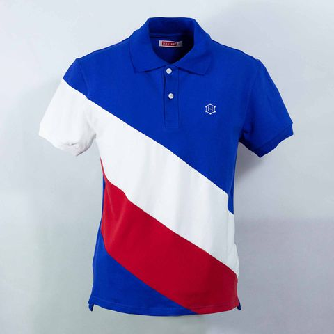 Navy Blue Mixed White Red Skew Premium Polo