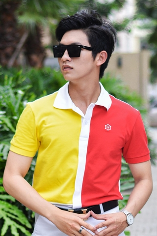 White Split mix Yellow Red Block Premium Polo