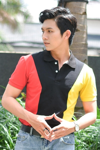 Black Mix Red Yellow Strong Shoulder Premium Polo