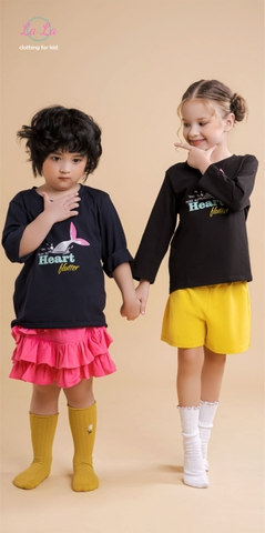 BỘ THUN TRẺ EM LALA - FASHION KID & MORE - COTTON 100% ( IN CHỮ HEART BLUTTER)