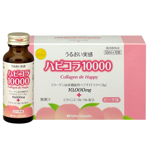 Nước Uống Collagen Nitta Gelatin Collagen De Happy 10.000mg (10 lọ)