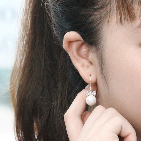 Bông tai bạc đính ngọc trai TNJ