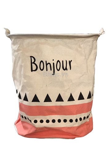 Sample Giỏ canvas tròn trắng in chữ Bonjour