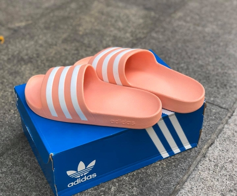 ADIDAS ADILETTE AQUA SLIDES LIGHT ORANGE WHITE