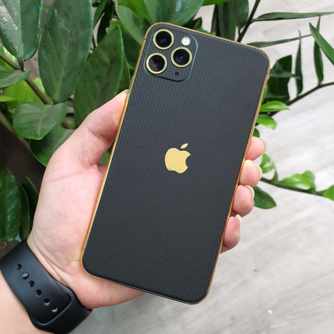IPhone Pro | Pro Max | IPhone 11 | Combo Viền Vàng 18K & Film 3M Black Matrix IPhone