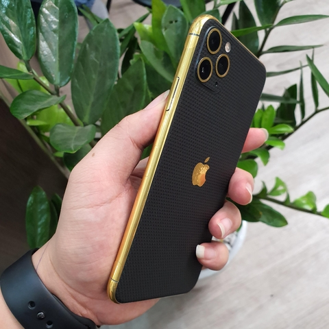 IPhone Pro | Pro Max | IPhone 11| Combo Viền Vàng 18K & Film 3M Black Matrix IPhone