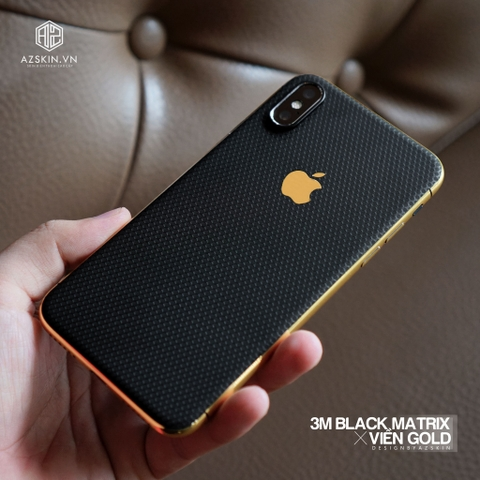 Combo Viền Vàng 18K & Film 3M Black Matrix IPhone