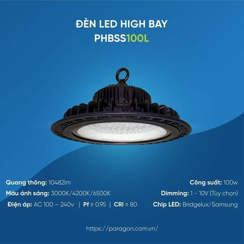 Đèn LED HighBay 100W PHBSS100L