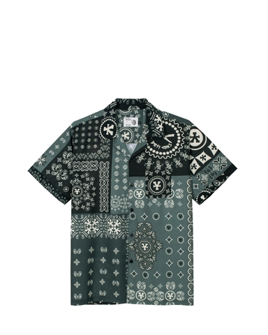 DirtyCoins Patchwork Bandana Shirt - Moss Grey