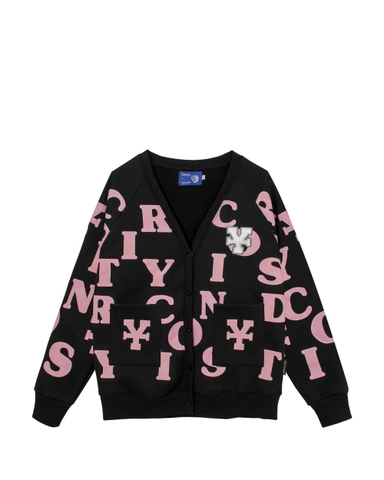 DirtyCoins Print Cardigan - Black/Pink