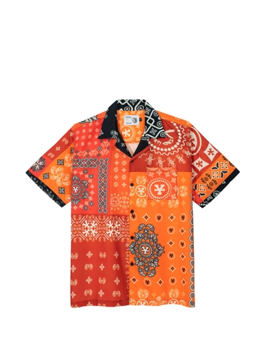 DirtyCoins Patchwork Bandana Shirt - Mars Red