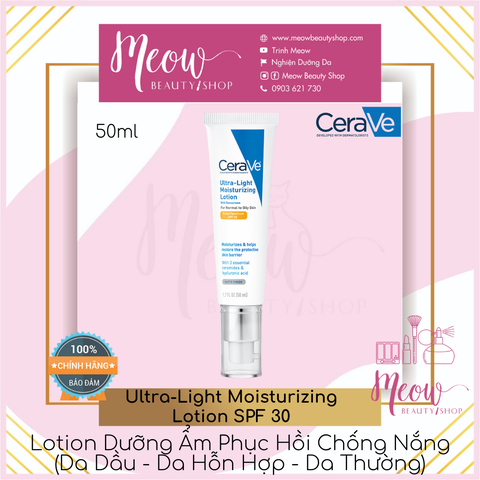 CeraVe - Kem dưỡng da dầu CeraVe Ultra-Light Moisturizing Lotion SPF 30 (50ml)