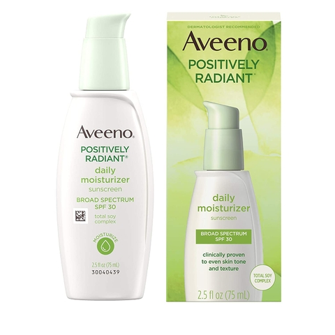 Kem dưỡng ẩm làm trắng da Aveeno Positively Radiant Daily Facial Moisturizer with Total Soy Complex and Broad Spectrum SPF 30 Sunscreen